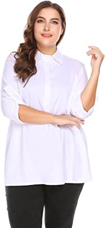 IN'VOLAND Involand Women's Plus Size Casual Chiffon Shirts V Neck Long Sleeve Blouse Tops