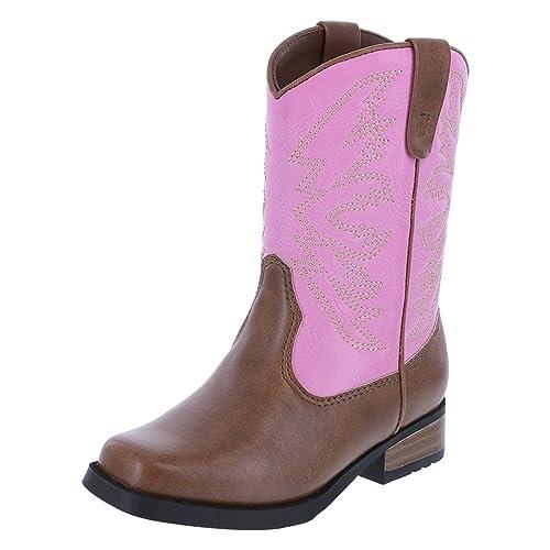 6c11059a528 SmartFit Girls' Pink Tan Girls' Toddler Aubrey Western Boot 10 ...