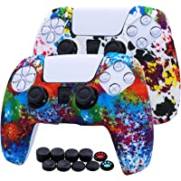 [2 Pack] Jusy Silicone Cover Skin for PS5 DualSense Controller, Sweat-Proof Anti-Slip Cover Dust Proof Durable…