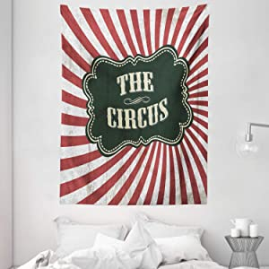 "Ambesonne Circus Tapestry, Classical Circus Show Event Advertisement Theme Antique Art Logotype Print, Wall Hanging for Bedroom Living Room Dorm Decor, 60"" X 80"", Emerald Cream"