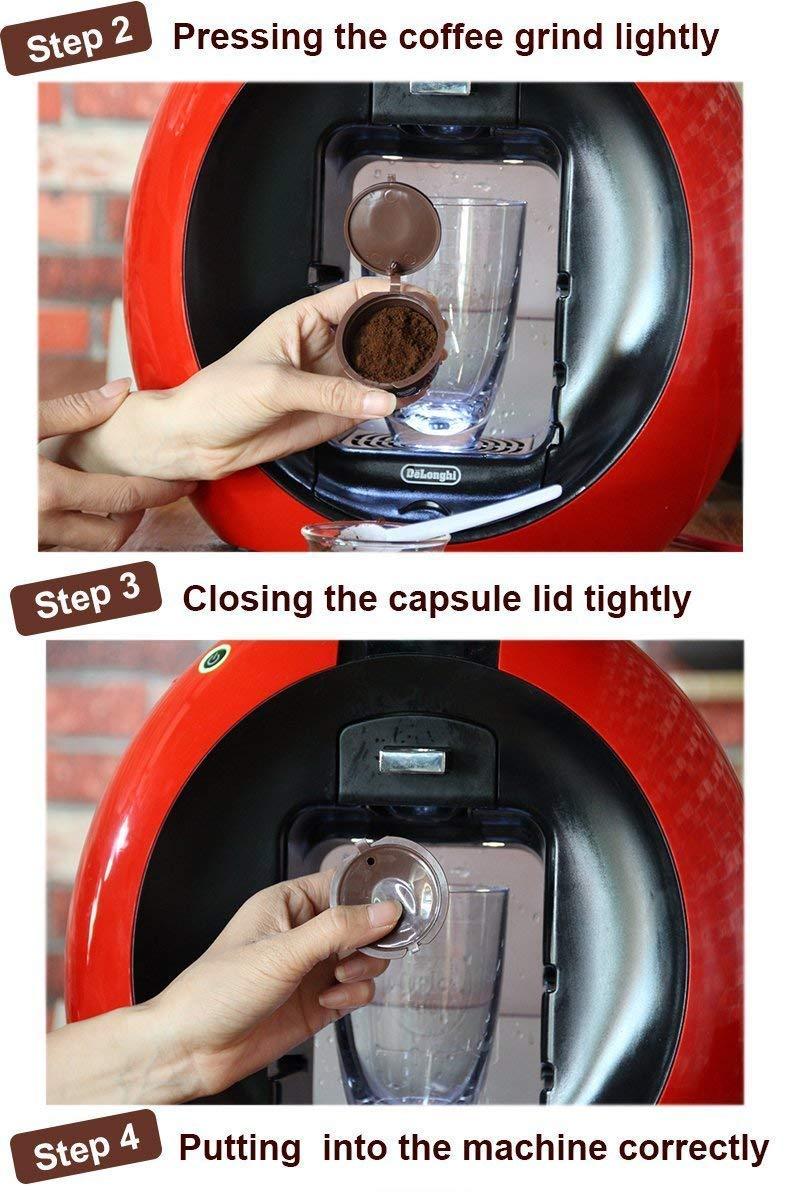 includono cucchiaio bianco HYVVC Capsule ricaricabili con filtro per macchina da caff/è Dolce Gusto colore marrone 1capsula