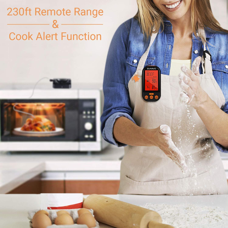 sunavo Digital Funk Grillthermometer Fleischthermometer mit großen LCD Display u