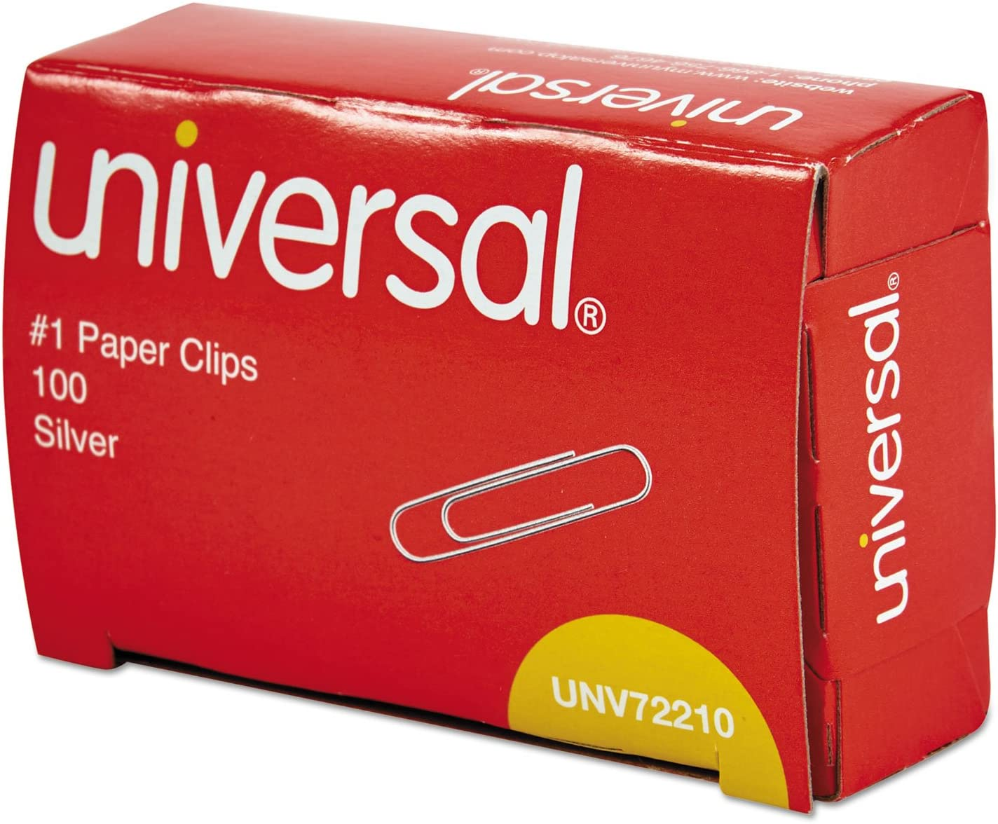 Universal 72210BX Paper Clips No 1 Smooth Finish Silver 100//Box