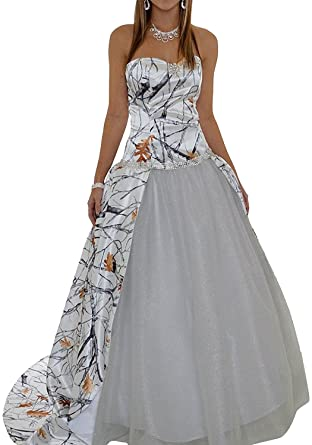 MILANO BRIDE 2017 Strapless Ball Gown Camo Wedding Dress Prom Dresses -6-Ivory