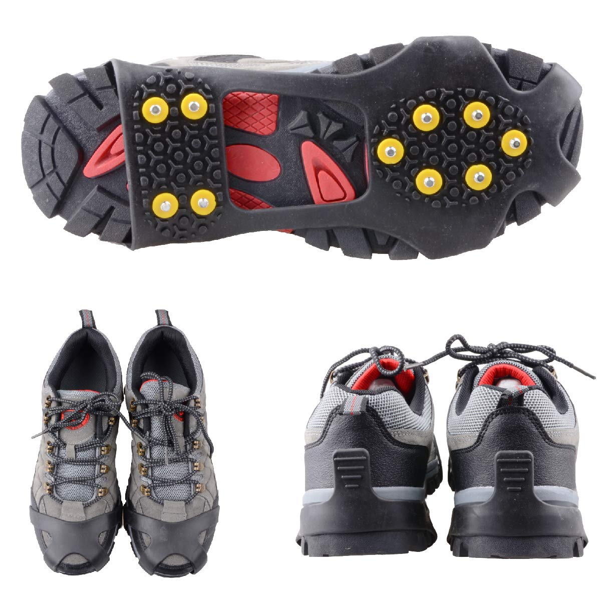 TRIWONDER Ice Grips 10 Teeth Anti-Slip Shoe/Boot Ice Traction Slip-on Snow Ice Spikes Crampons Cleats Stretch Footwear Traction