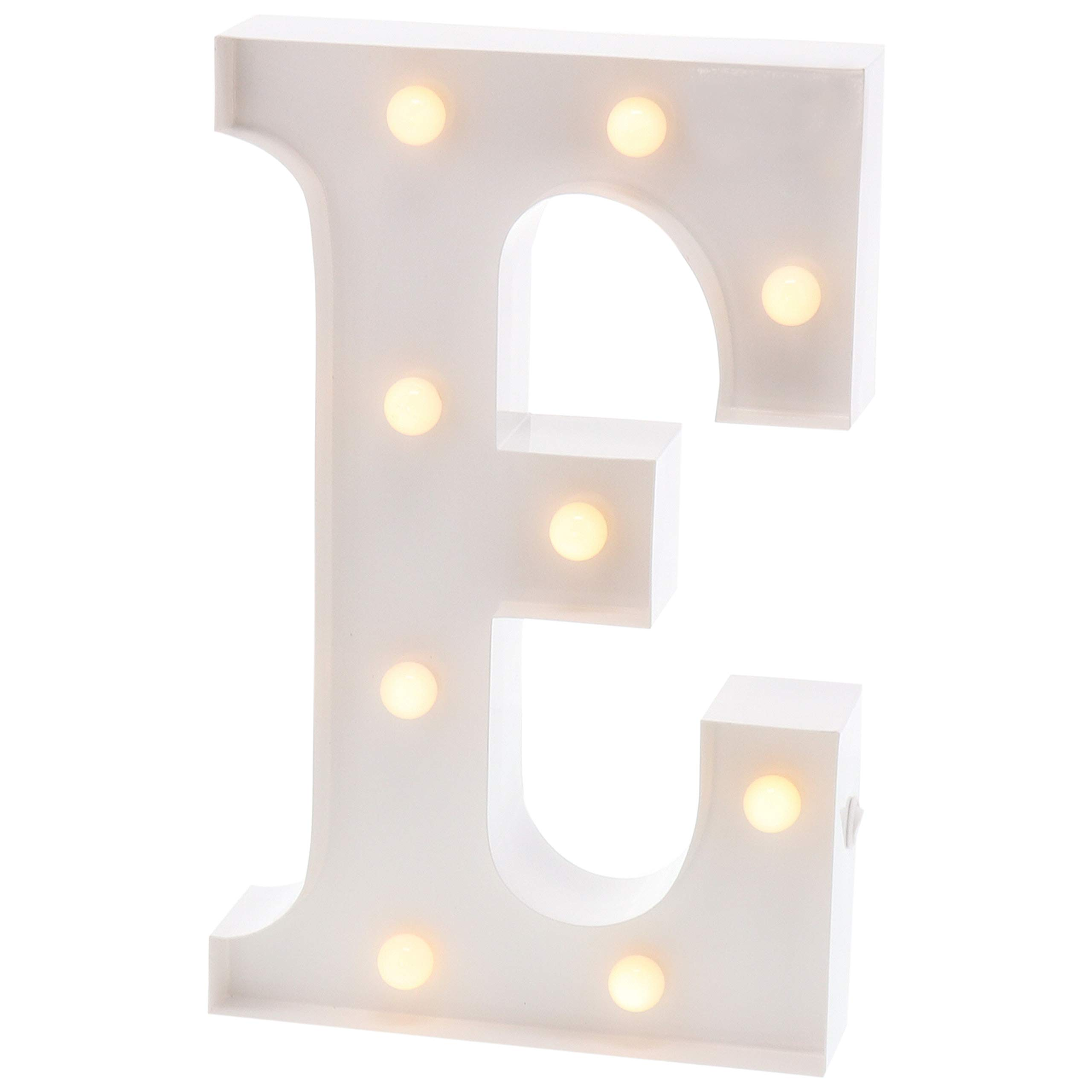 Barnyard Designs Metal Marquee Letter E Light Up Wall Initial Wedding, Bar, Home and Nursery Letter Decoration 12'' (White) by Barnyard Designs