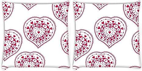 Snoogg Rojo Corazón Patrón de color blanco Pack de 2 ...