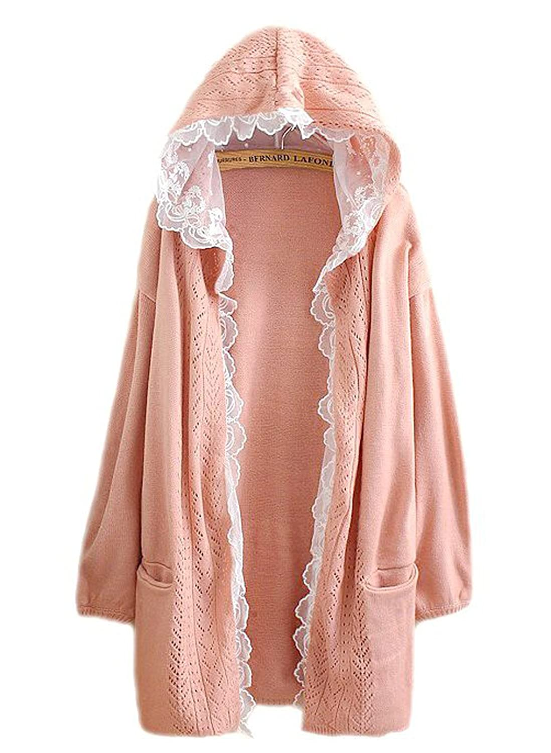 hqclothingbox Women Kawaii Harajuku Japanese Casual Lace Layered Jacket Coat Knitted Lace Sweater Cardigan
