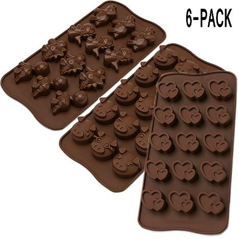 YYC - Juego de 6 moldes de silicona para chocolate con forma de corazón