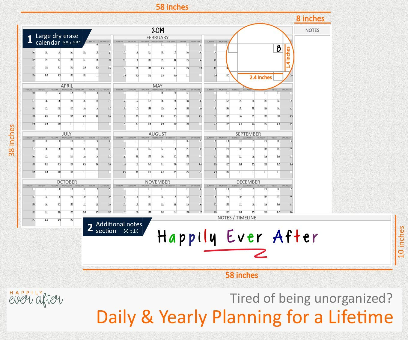 HEA Large Dry Erase Wall Calendar 2019 58'' x 48'' | Premium New Laminate | Blank Undated, Reusable & Erasable 12 Month Annual Planner | Classroom, Fiscal Year, Office, Project & Family Schedule by Happily Ever After (Image #2)