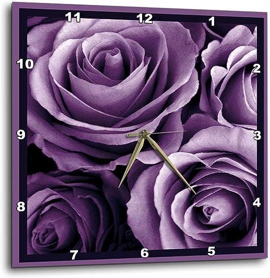 3dRose 3D Rose Close up of Dreamy Lavender Purple Rose Bouquet-Wall Clock, 10-inch DPP_29807_1