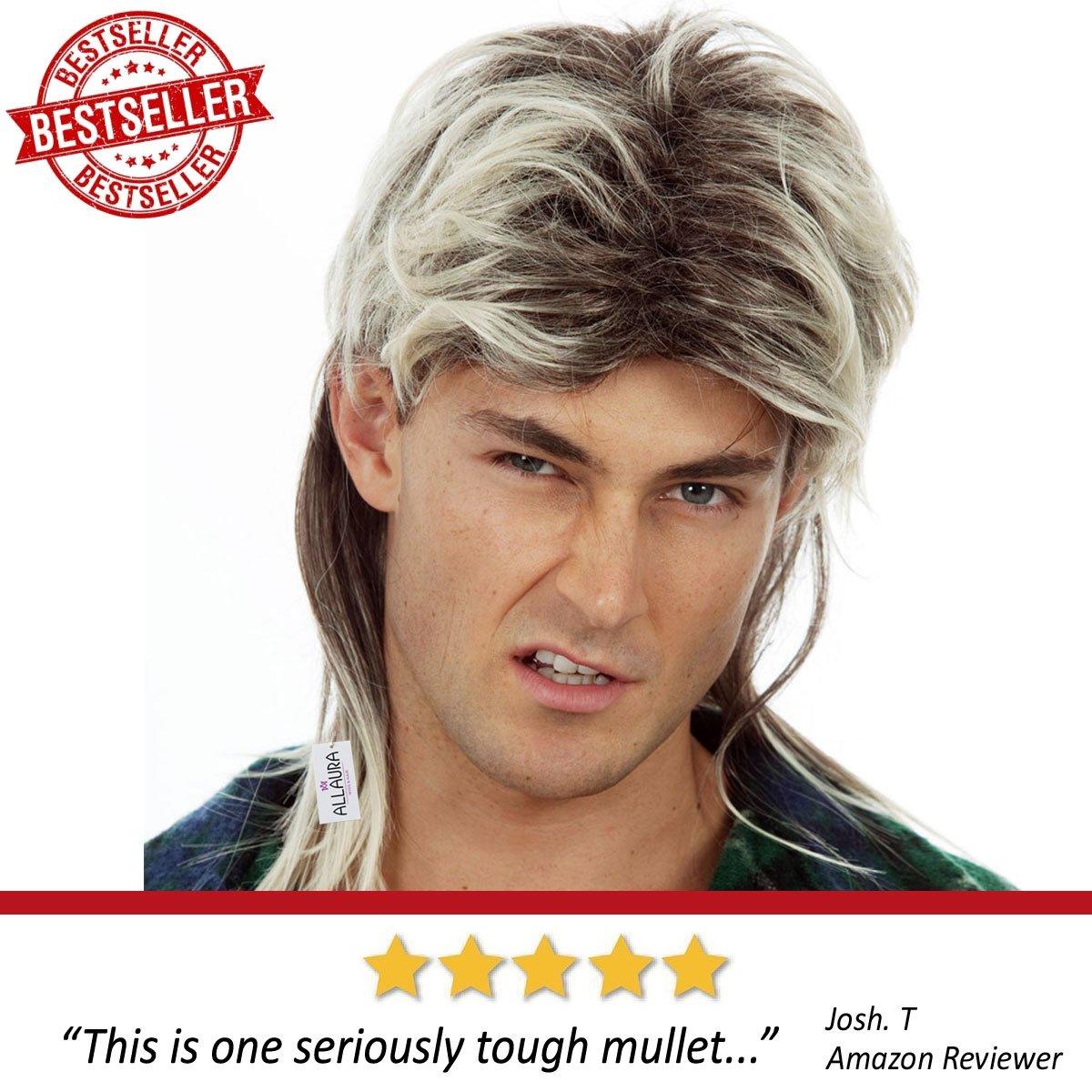 80s Blonde Mullet Wig for Men - Joe Dirt Wigs White Trash Redneck Costume by ALLAURA (Image #2)