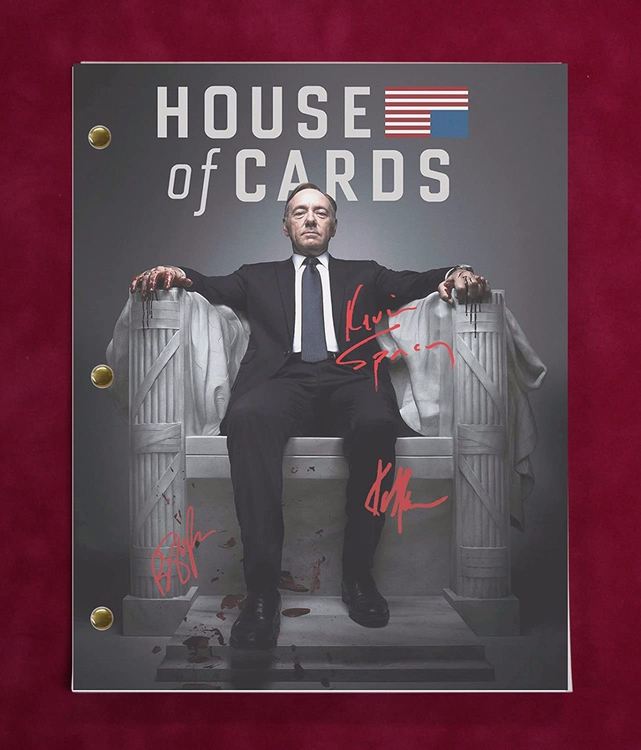 House Of Cards Tv Script W/Reproduction Signatures Spacey, Gill, Wright C3