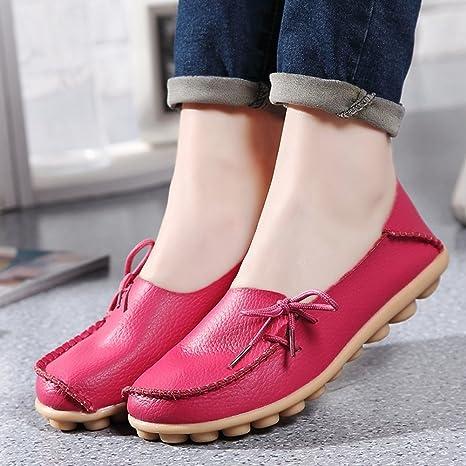 SHINIK Zapatos ocasionales de las mujeres Spring Summer Slip-Ons de cuero Zapatos de guisantes