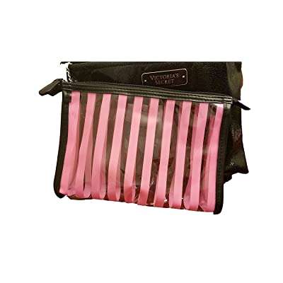 Victoria's Secret Cosmetic Bag Black Metallic 2 Piece Set