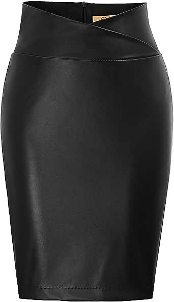 GRACE KARIN Mujer Falda de Tubo Corta Lápiz Cintura Alta Cuero de Imitación