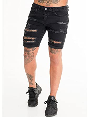 43f1cb90 Sinners Attire Skinny Jeans Short, black, W34 = Large: Amazon.co.uk:  Clothing