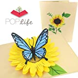 PopLife Blue Butterfly and Sunflower Pop Up Valentine's Day Card - 3D, Pop Up Mother's Day Card, Thank You, Happy Birthday - Folds Flat for Mailing - for Mom, for Daughter, for Wife