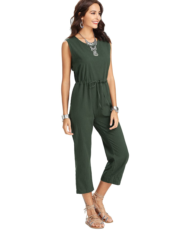78d5ff806e6 Amazon.com  Romwe Women s Casual Solid Jumpsuit Drawstring Waist Sleeveless  Romper  Clothing