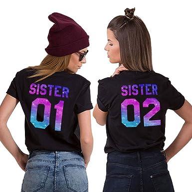 Best Friends T-Shirt für Zwei Damen Mädchen Shirts Beste Freundin Freunde  BFF Freundschaft Geburtstagsgeschenk 2 Stücke Sommer Baumwolle Tops   Amazon.de  ... 2e028ac455