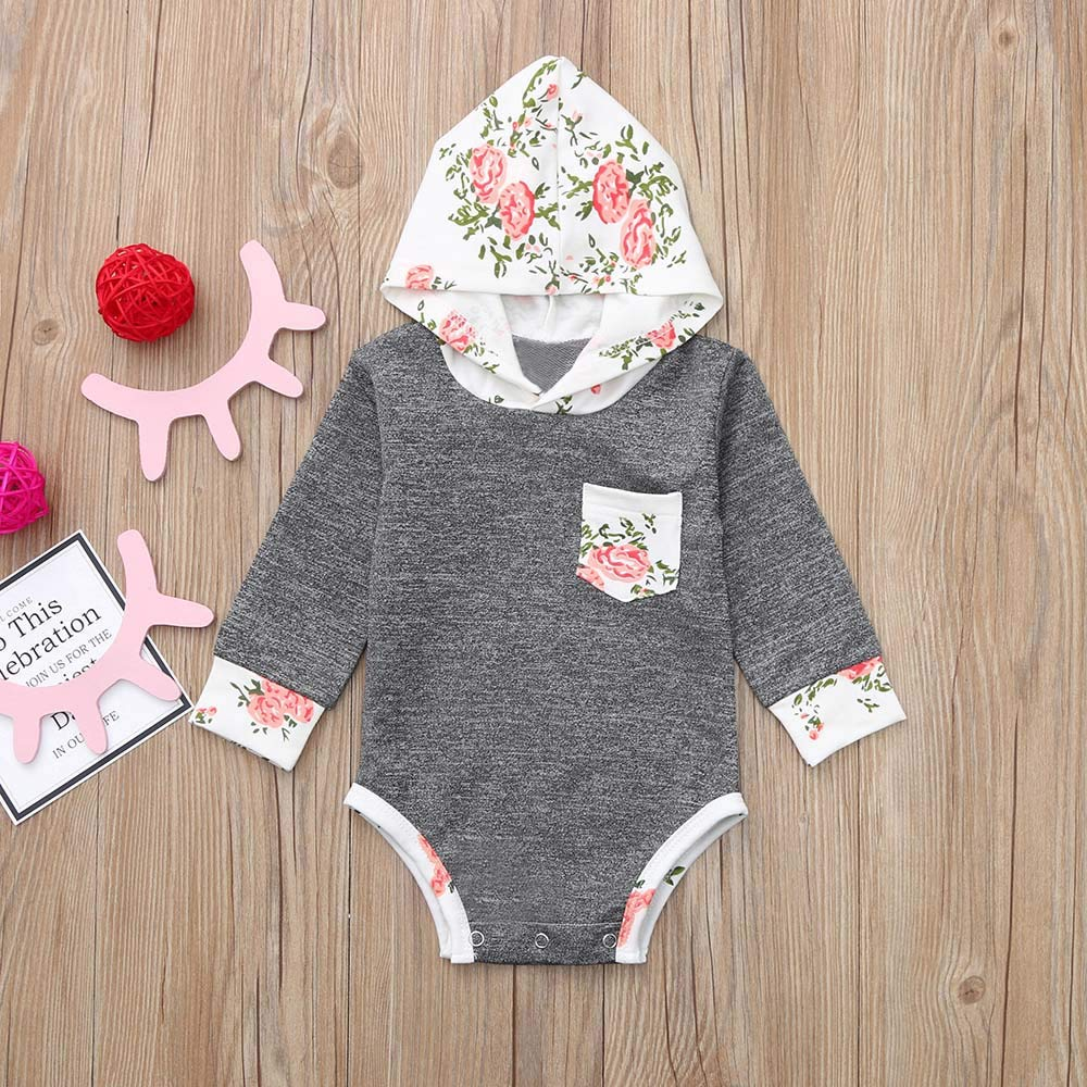 OCEAN-STORE Newborn Infant Baby Boy Girl 0-24 Months Hooded Romper Bodysuit Playsuit Outfits Clothes