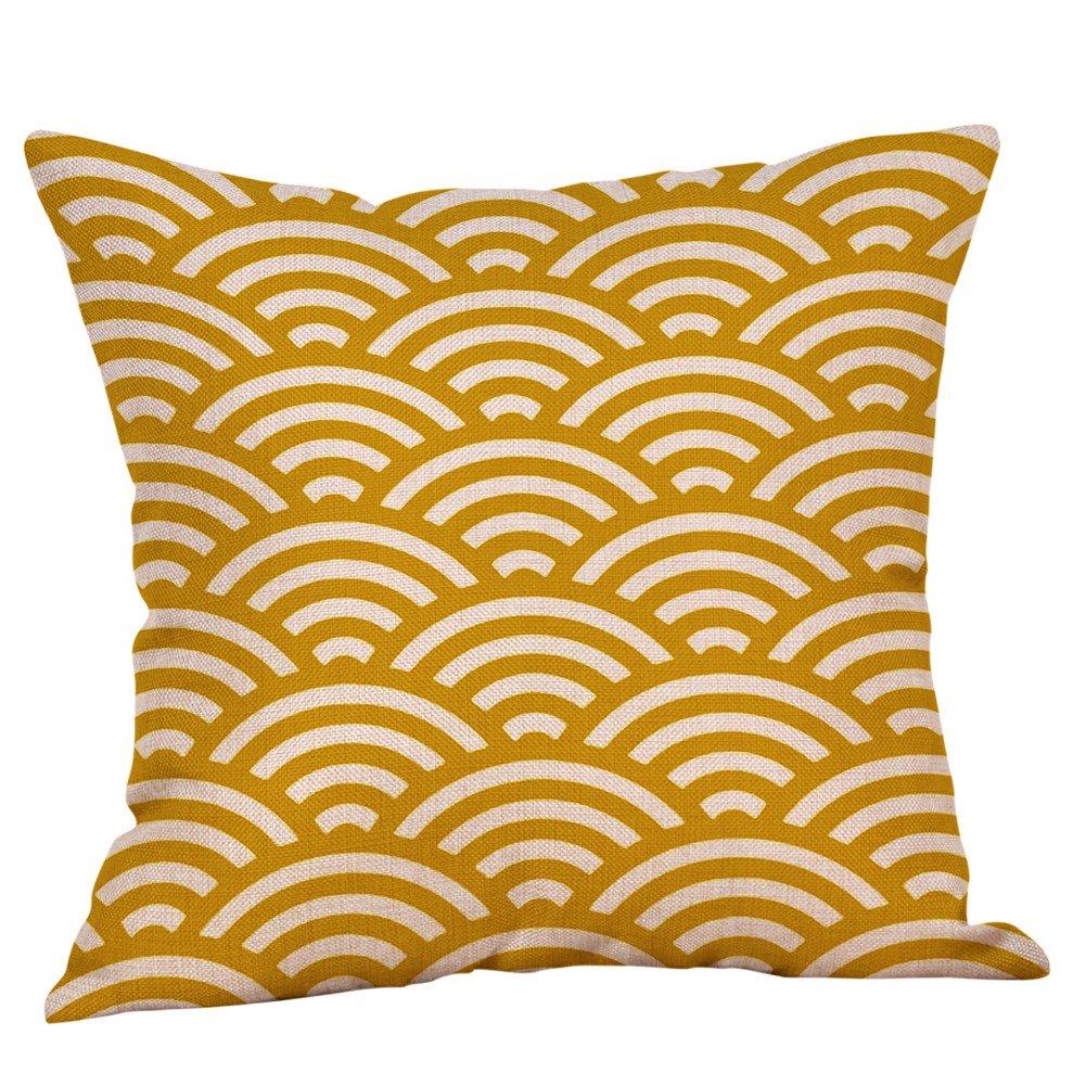 VJGOAL Mostaza Amarillo geom/étrico oto/ño oto/ño coj/ín Decorativo Decorativo Respetuoso del Medio Ambiente extra/íble y Funda de Almohada Lavable