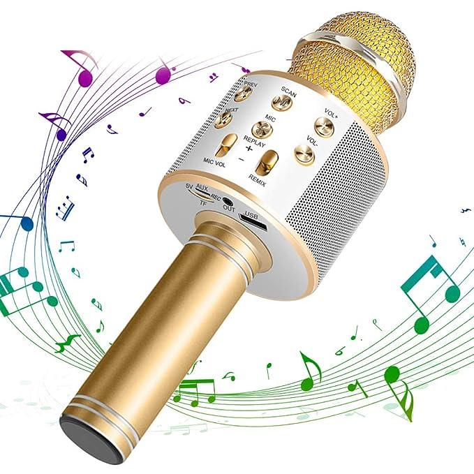 DAMIGRAM Bluetooth Karaoke Micrófono, Portátil Inalámbrica Micrófono y Altavoz del Karaoke de Bluetooth de 4,1 parlantes, para el Hogar KTV, Conectando con ...