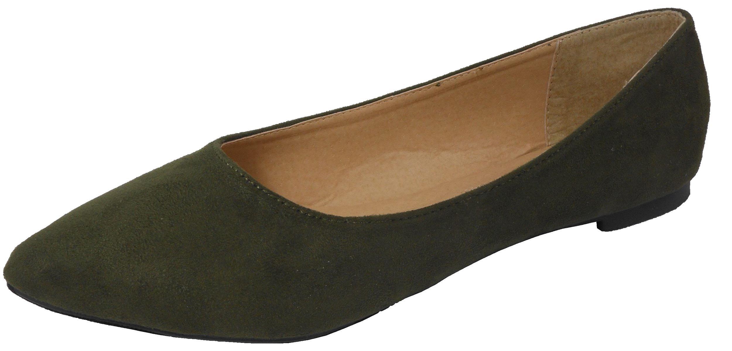 Jynx Women's Pointed Toe Slip on Ballet Flat Betty-1 Olive 7.5