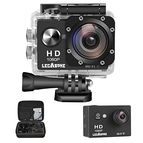 Legazone WIFI 2. 0'' 12MP HD 1080P 170Wide Sports Camera Action DV + Shockproof Carrying Bag Waterproof Helmet Camcorder Cameras   Photography