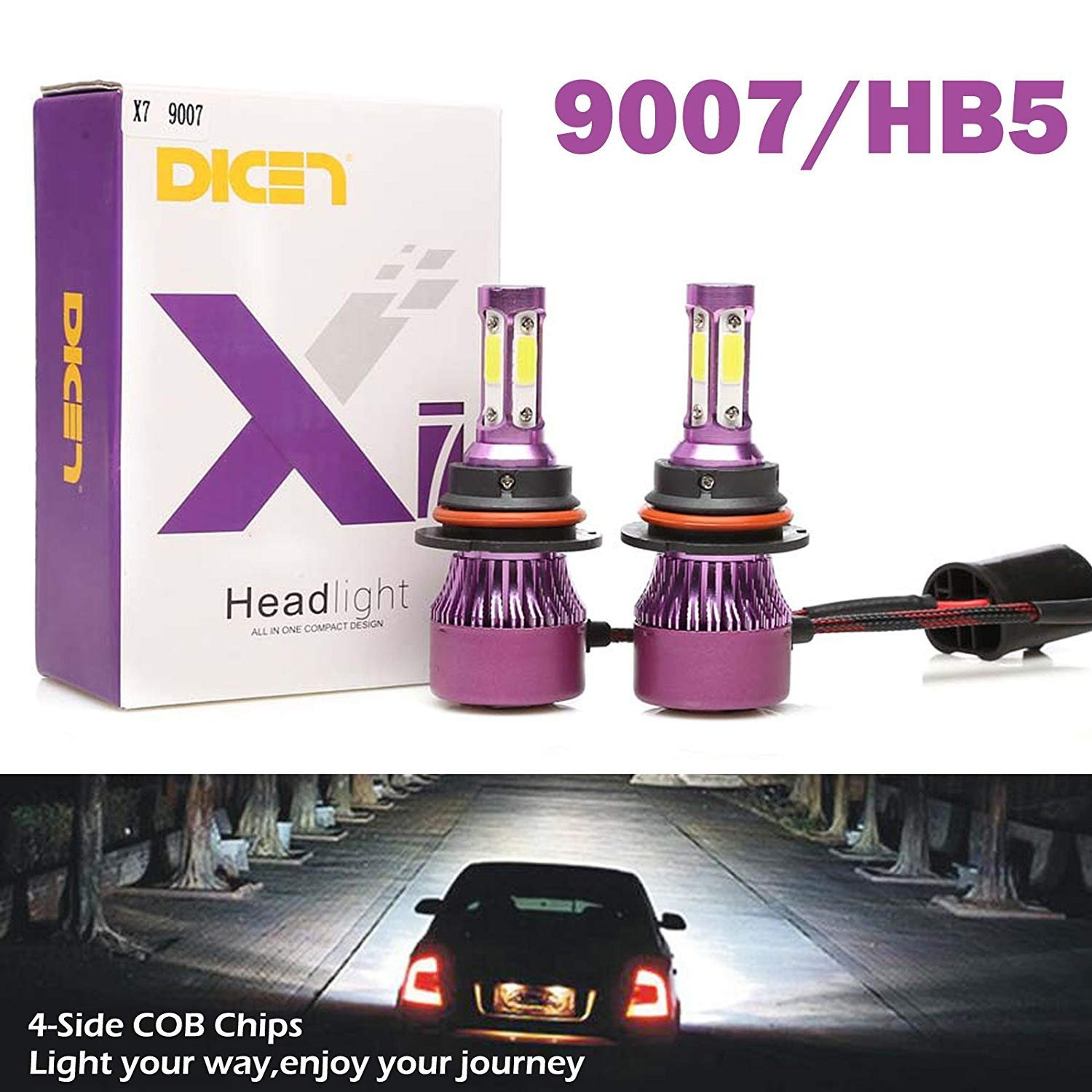 9007 HB5 LED Headlight Bulbs High Low Beam 6000K Cool White Bright 20000LM 4 Side COB Chips Car Headlamp Replacement Kit (Pack of 2, 2 Year Warranty)