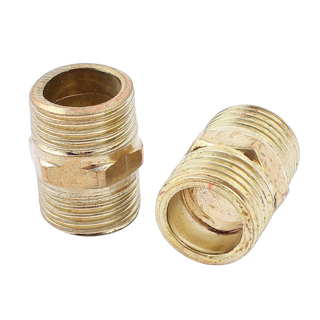 sourcingmap® Brass 1/2BSP x 1/2BSP Male Hex Nipple Connector Adapter 27mm Long 2Pcs a15043000ux0107