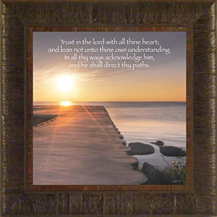 Trust In The Lord By Todd Thunstedt 17.5x17.5 Sunset Pier Religious Bible  Verse
