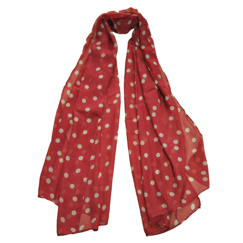SODIAL(R) Moda Donne Bella Pois Spotted dello scialle della sciarpa del vino rosso