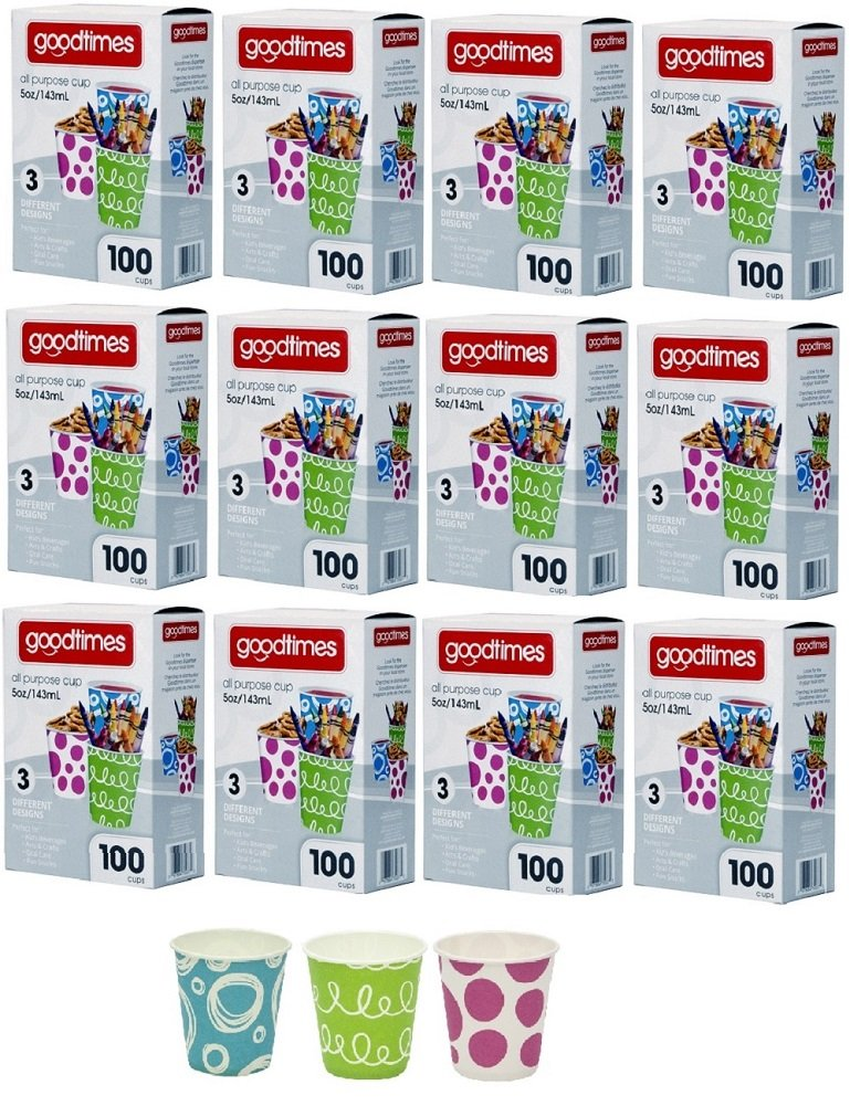 Goodtimes 5oz. All-Purpose Bathroom/Kitchen Paper Cold Cups,100ct-Assorted Designs (12)