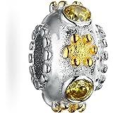 Silver Yellow CZ Bead Charm Fits Women's Charm Bracelets