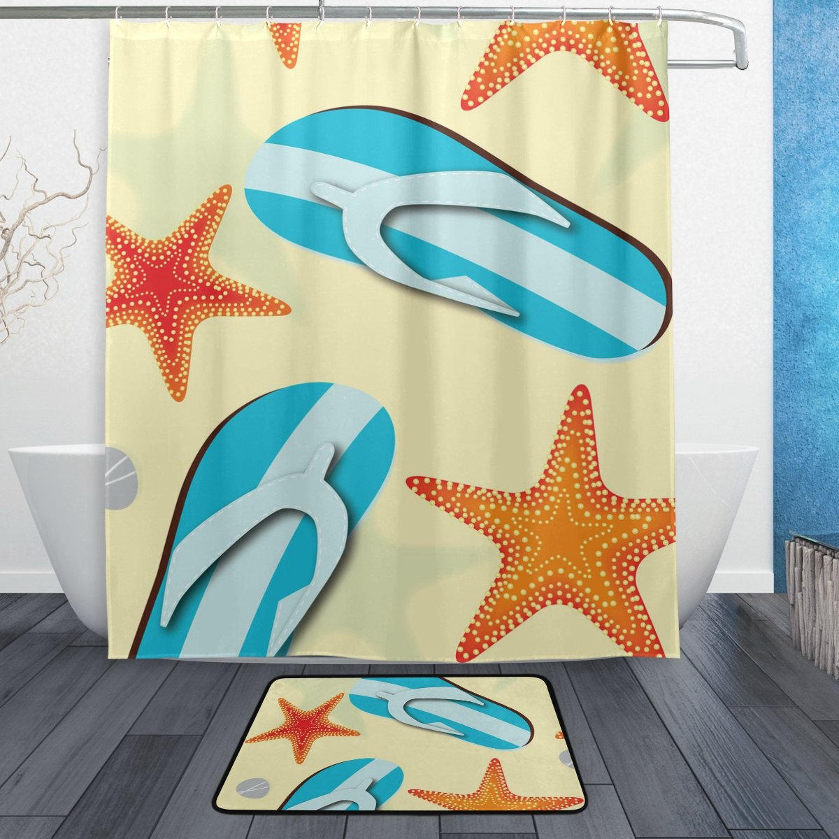 BAIHUISHOP Yellow Beach Starfish Flip Flop PatternMachine Washable for Everyday Use,Includes 60x72 Inch Waterproof Shower Curtain, 12 Shower Hooks and 1 Non-slip Bathroom Rug Carpet by baihuishop