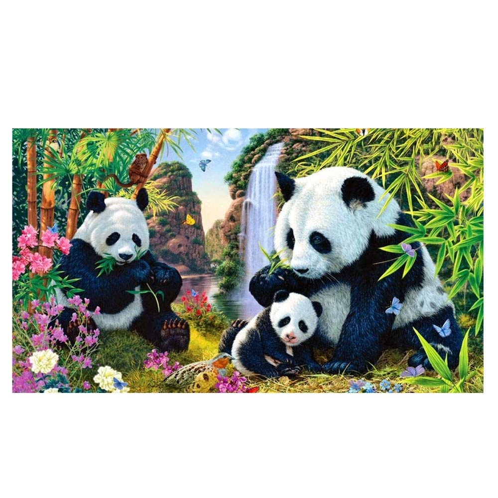 Mome Diamond Embroider 5D Diamond Painting by Number Kit DIY Crystal Rhinestone Cross Stitch Embroidery Arts Craft Picture Supplies for Home Wall Decor,Panda- 30x40cm (A)