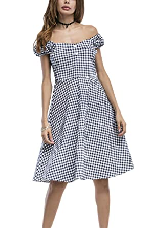 6926a5b483 Women Vintage 50s 60s V Neck Gingham Plaid Swing Dress at Amazon Women s  Clothing store