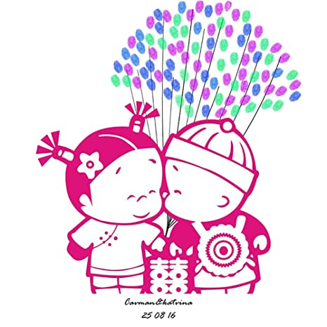 Huella Dactilar Firma Libro Visitas Pareja Casada Lona Tradición China Impresión Del Pulgar DIY Creativo Registrarse
