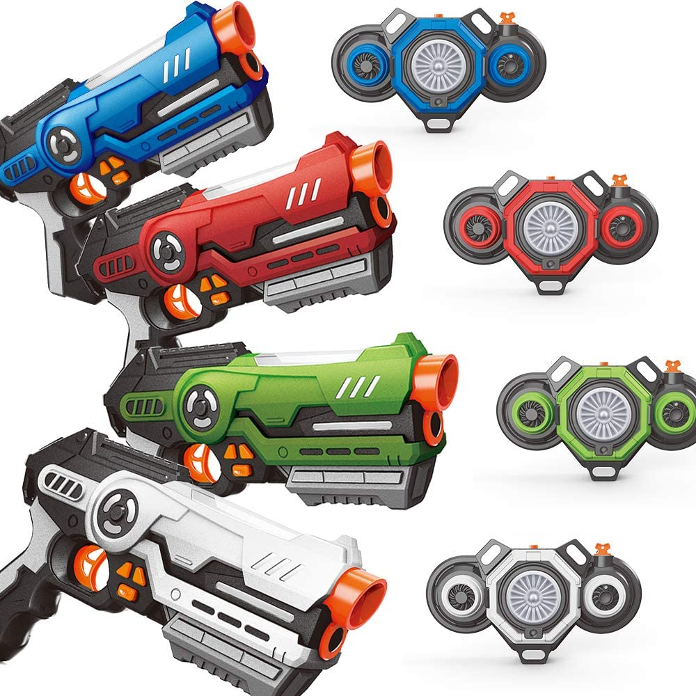 Home Laser Tag Guns Set - Pack of 4 Infrared Blasters & Vests with Innovative Fog Effect - Outdoor Games Activities for Teenagers Age 8+ and Adults - Thrilling Kids Toy Gifts for Birthday Holiday
