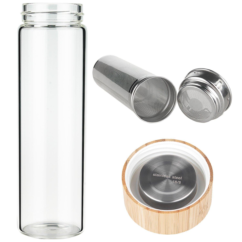 Ferexer Teiere con Infusore Bottiglia 500ml con Coperchio in Bamb/ù