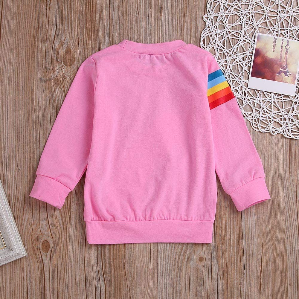 Anglewolf Christmas Family Matching Thick Long Sleeve Round Neck Hooded Sweatshirt Mommy & Me Children Kids Sleeves Rainbow Top Clothes Jumpers Novelty Sweater 3D Printed Pink,3-4 Years