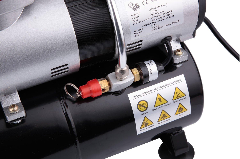 Compresor de aerógrafo Fengda FD-196 con calderín / regulador de presión / 3.5L / 6 bar / parada automática: Amazon.es: Bricolaje y herramientas