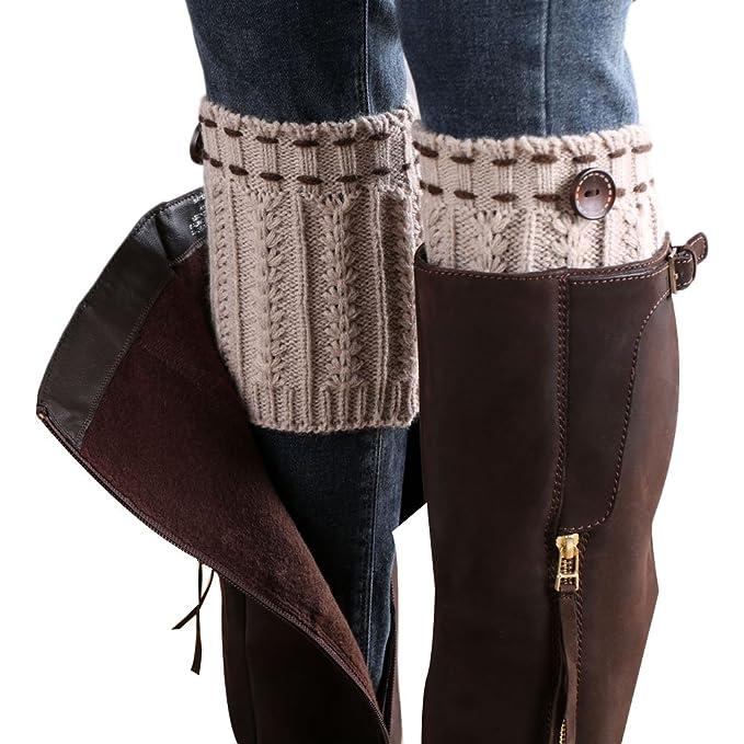Willtoo 2015 Women Leg Warmer Knit Boot Socks Topper Cuff Beige At