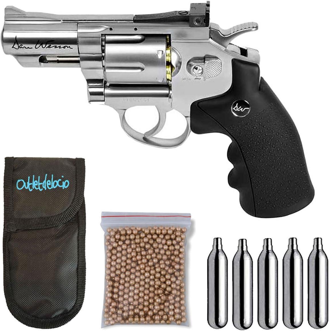 Outletdelocio. Revolver perdigon ASG17177 Dan Wesson 2,5 Pulgadas + Funda Portabombonas + Balines + Bombonas co2. 23054/29318/38123