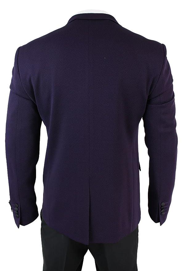 wesen Costume Smoking croisé Homme Violet Prune Pantalon Noir Coupe  cintrée  Amazon.fr  Vêtements et accessoires b0d66e61ae2