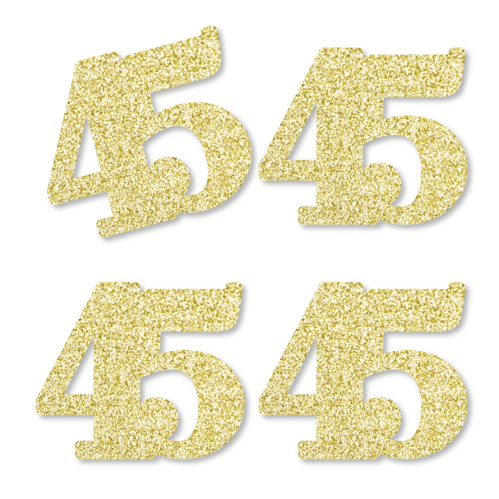 Gold Glitter 45 - No-Mess Real Gold Glitter Cut-Out Numbers - 45th Birthday Party Confetti - Set of 24 by Big Dot of Happiness