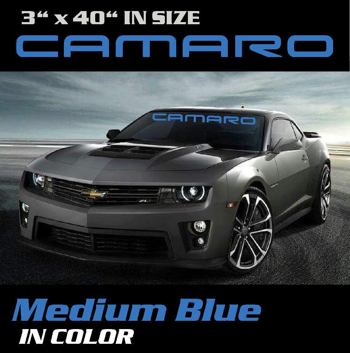 Decal Sticker Emblem 3 inch by 40 inch Medium Blue Camaro Windshield Banner Graphic