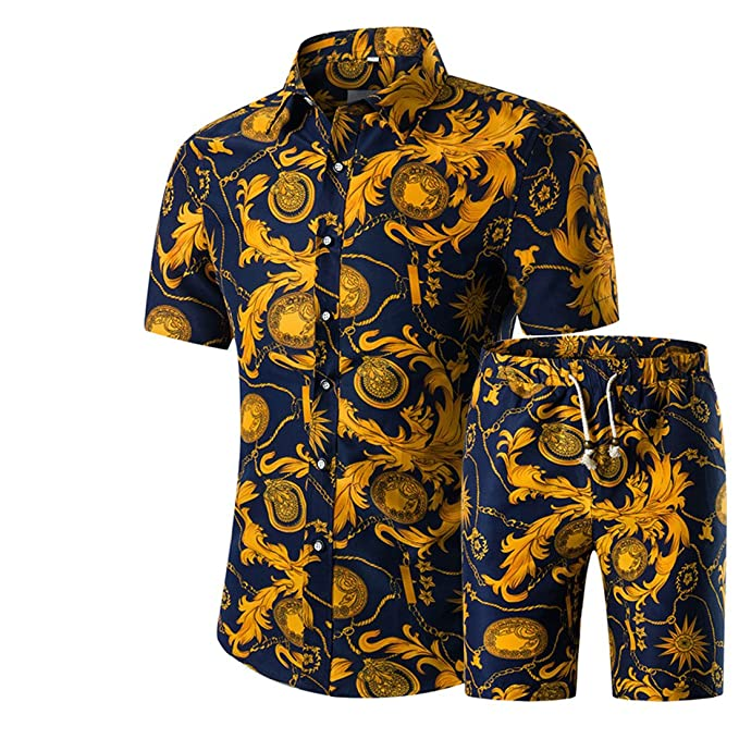 Jotebriyo Men Short Sleeve Summer Active Shorts Two Piece Suit Outfits Blouse Shirt Tops