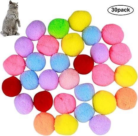 Natuce 30PCS 3CM Coloridos Pompones Balls, Juguetes del Gato ...